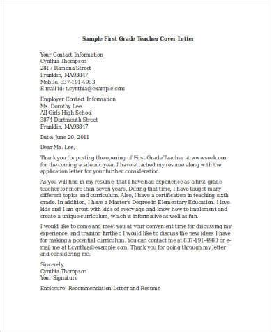 cover letter exles for teacher 8 free documents in
