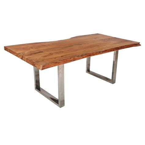 natural edge dining table natural 78 quot acacia wood steel base live edge dining table