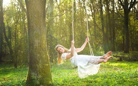 happy girl  swing widescreen wallpaper wide wallpapersnet