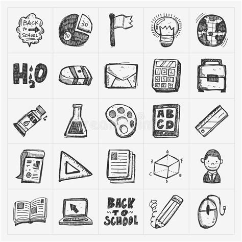 doodle draw icon pack back to school doodle draw icon set stock vector