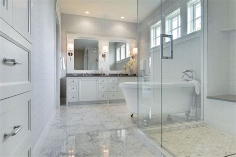 Marble Floor Bathroom by White Marble Tiled Floor Transitional Bathroom Martha O Hara Interiors