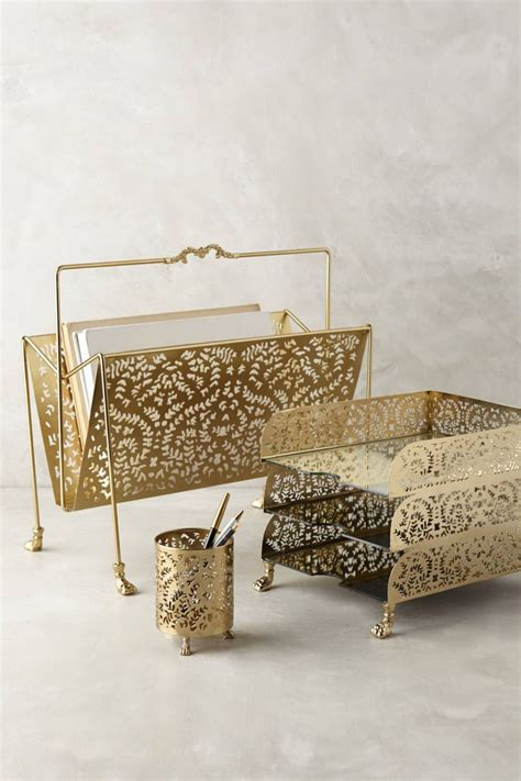 A Touch Of Glamor At The Workplace Gold Desk Accessories Gold Desk Accessories