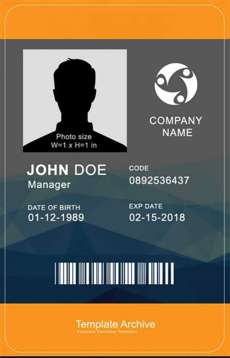 vertical id card template word 16 id badge id card templates free template archive