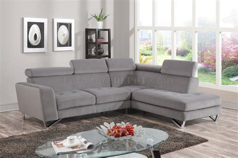 grey chenille sectional 4025 sectional sofa in grey fabric micro chenille
