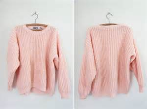 vintage chunky pastel pink knit sweater by castleinair on etsy