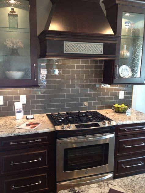 glass wall tile kitchen backsplash fres hoom ice gray glass subway tile backsplash with dark brown