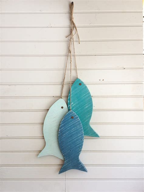 Wooden Fish Wall Decor by Painted String Of Wooden Fish Wall Decor Made With Repurposed