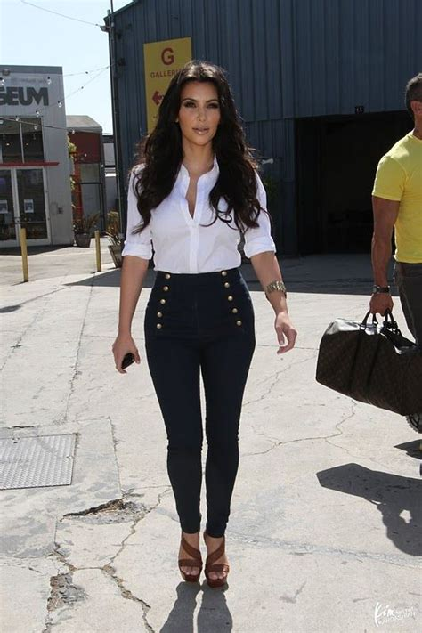 LOVE Kim's high waisted skinny sailor jeans and her shoes!   Hot faces   Pinterest   Sailors