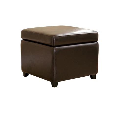 Wholesale Interiors Bicast Leather Storage Ottoman Brown Y Leather Storage Ottoman