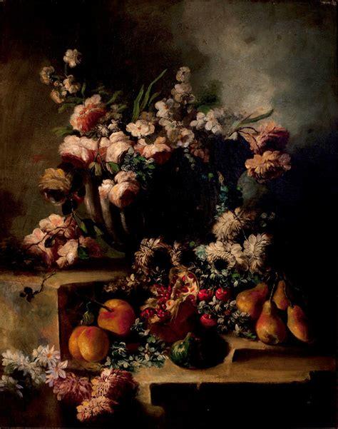 nature morte con fiori coppia di nature morte con fiori e frutta arcuti