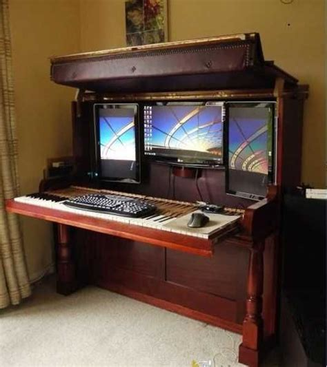Repurposed Computer Desk Amazing Redesign Repurposing Piano Into Computer Desk And Workstation