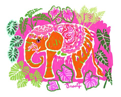 Lilly Pulitzer Starbucks art print 16x20 pink indian elephant decorative by by