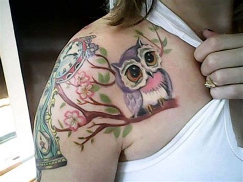 girl with owl tattoo on chest name nice chest tattoo design for girl tattoos tattoo inked