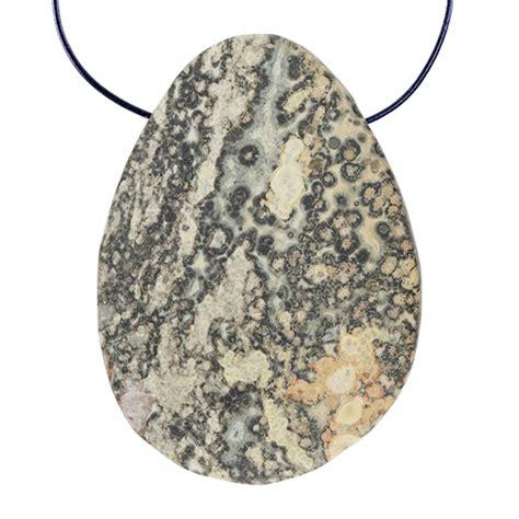 leopardskin jasper gemstone teardrop pendant 35mm x 48mm