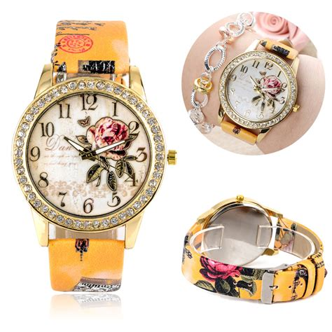 Flower Pattern Leather flower patterns geneva leather band analog quartz fashion