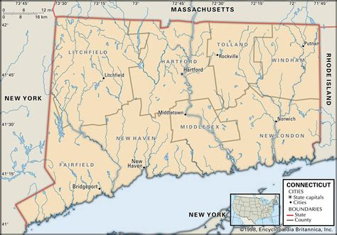 map of ct towns state and county maps of connecticut