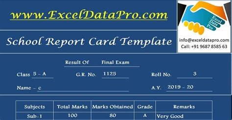school report card  mark sheet excel template