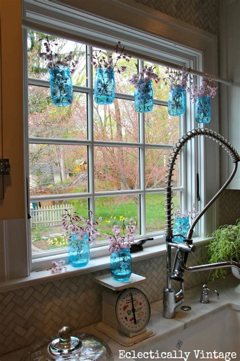 Unique Window Curtains Decorating Simple Ways To Decorate With Blue Tinted Jars