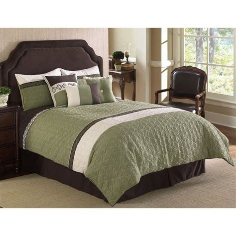 white and green comforter sets frontera quilted 7 piece comforter set in green and white