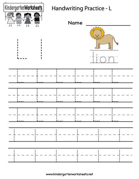 Letter L Worksheets kindergarten letter l writing practice worksheet printable