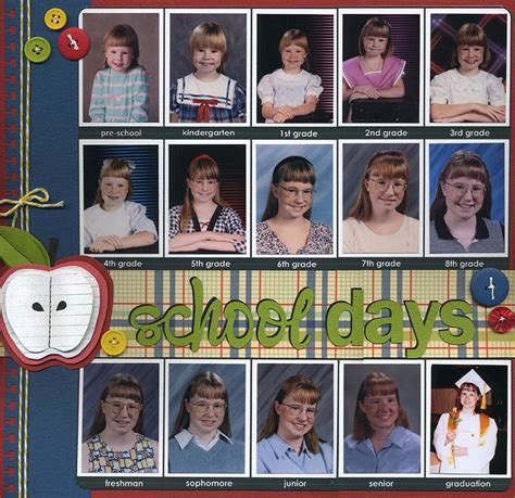 scrapbook layout for school picture school days for the first page of school album school