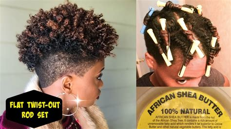 braid out rod set on tapered natural hair hairstyle for flat twist out rod set using 100 african shea butter