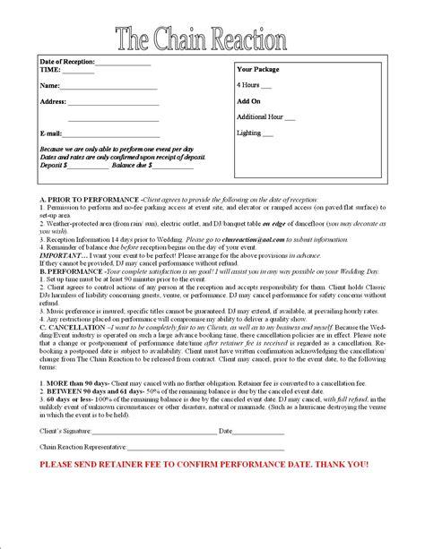 entertainment contract template contract for entertainment central florida dj