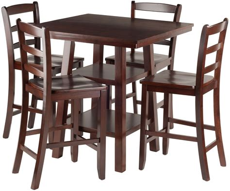 5 Counter Height Dining Set With Stools by Orlando 5 Walnut Counter Height Dining Set With