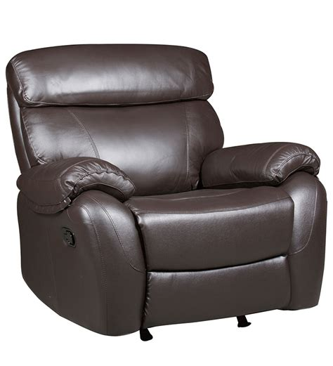 single seater leather recliner rocker sofa in brown