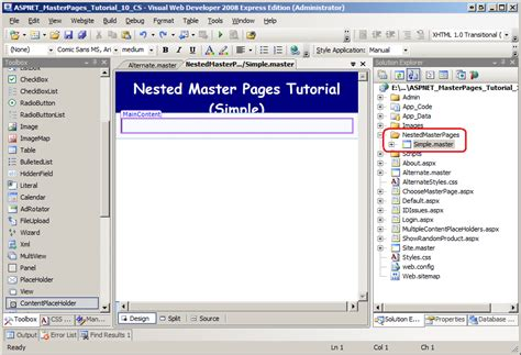 tutorial asp net master page nested master pages c the asp net site