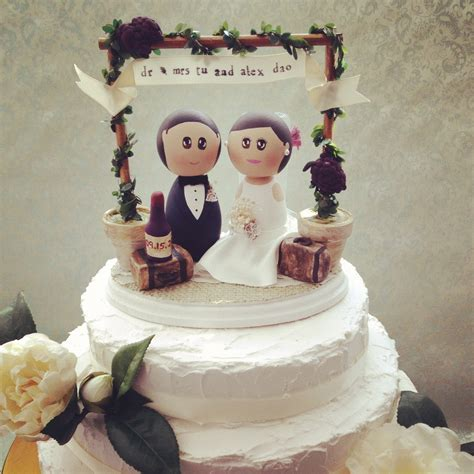 DSMeeBee: Winery Wedding Theme Cake Topper Base with Bride