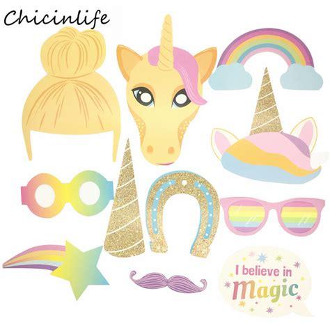 printable unicorn photo booth props chicinlife 13pcs lot unicorn glasses on a stick photo