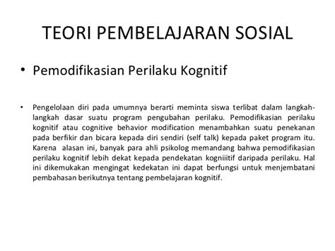 Cognitive Behavior Modification Adalah by Teori Belajar Sosial