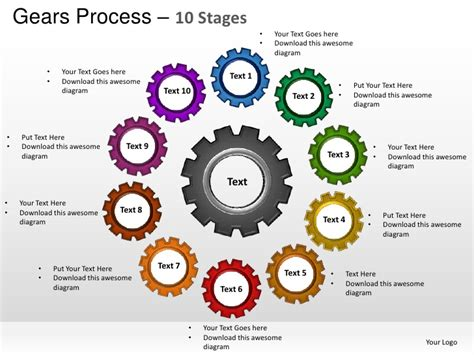 powerpoint template gears and wrenches over yellow gears cogs mechanical process 10 stages powerpoint templates