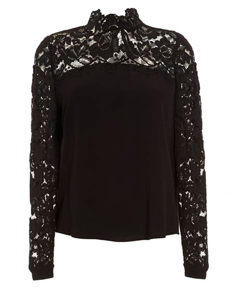 schwarze decke iblues womens museo blouse high neck lace black top