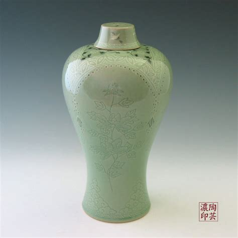 Ceramic Vases With Lids by Ceramic Vase With Lid With Celadon Green Peony And Bojagi