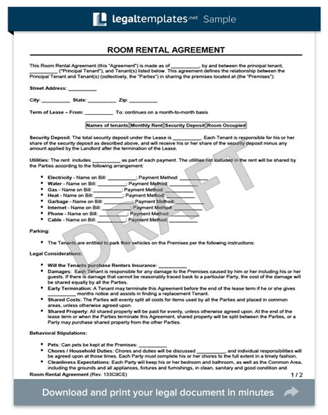 room for rent agreement template free room rental agreement form create a free room rental