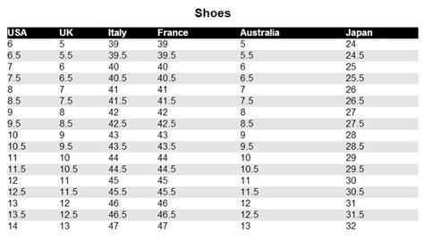 size 9 shoes conversion shoe size conversion style