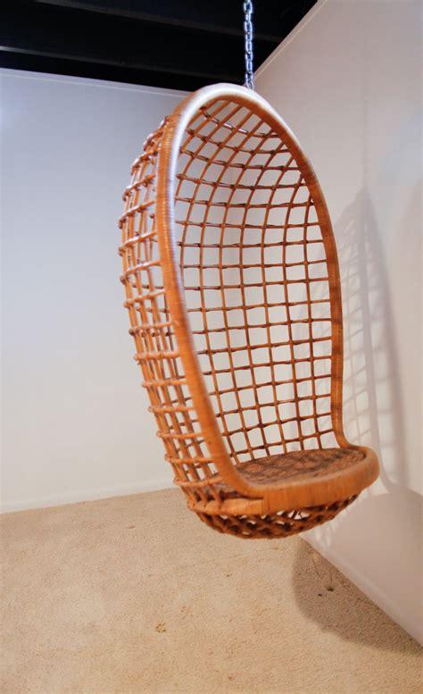 rattan hanging egg chair mid century  stdibs