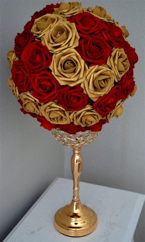 RED & GOLD Flower Ball Mix. Wedding Centerpiece. Kissing