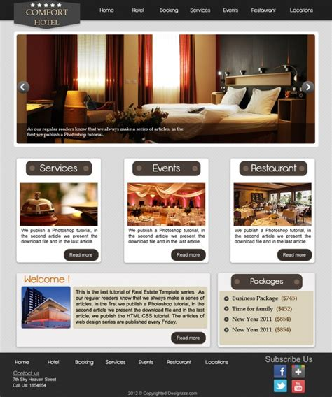 tutorial website template free download download psd web template for elegant hotel website