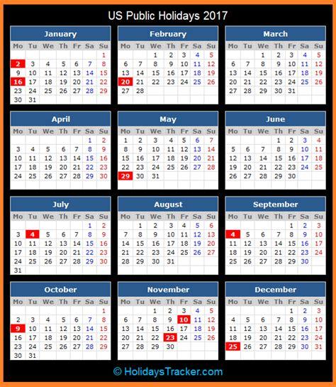 Calendar Of National Holidays Us Holidays 2017 Holidays Tracker