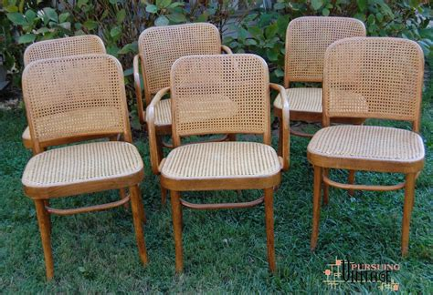 thonet bench a set of six thonet hoffman style prague chairs