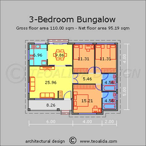 Low Income 3 Bedroom Apartments house floor plans 50 400 sqm designed by teoalida