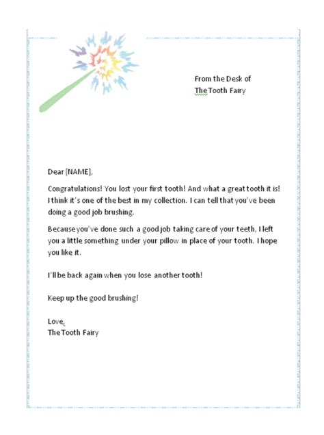 letter from the tooth template lost tooth letter from the tooth free tooth