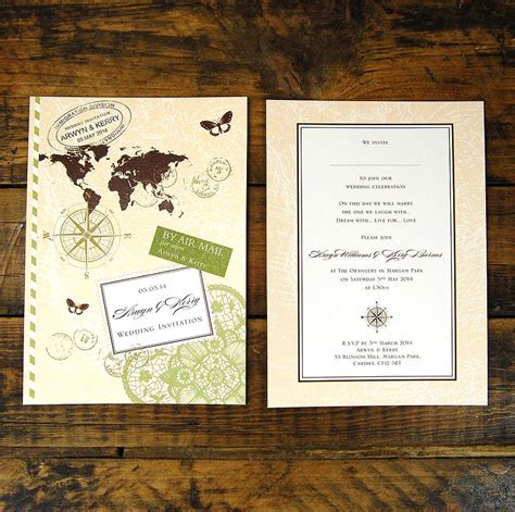 Wedding Invitations Travel Theme by Travel Theme Invite Mini Wedding Travel