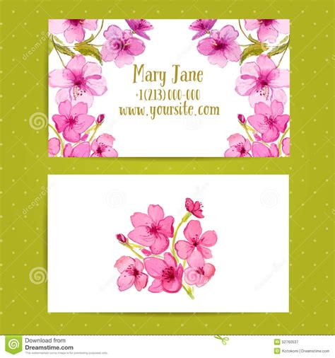 template that says cards flowers business card template with watercolor flowers of stock