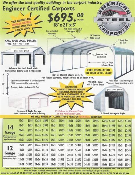 Carport Prices American Steel Carports Only 10 Payment Backyard