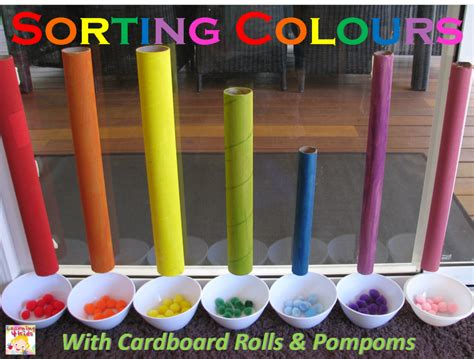 sort colors sorting colours with cardboard learning 4