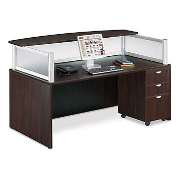 Contemporary Mocha Laminate Reception Desk With Mobile Mobile Reception Desk